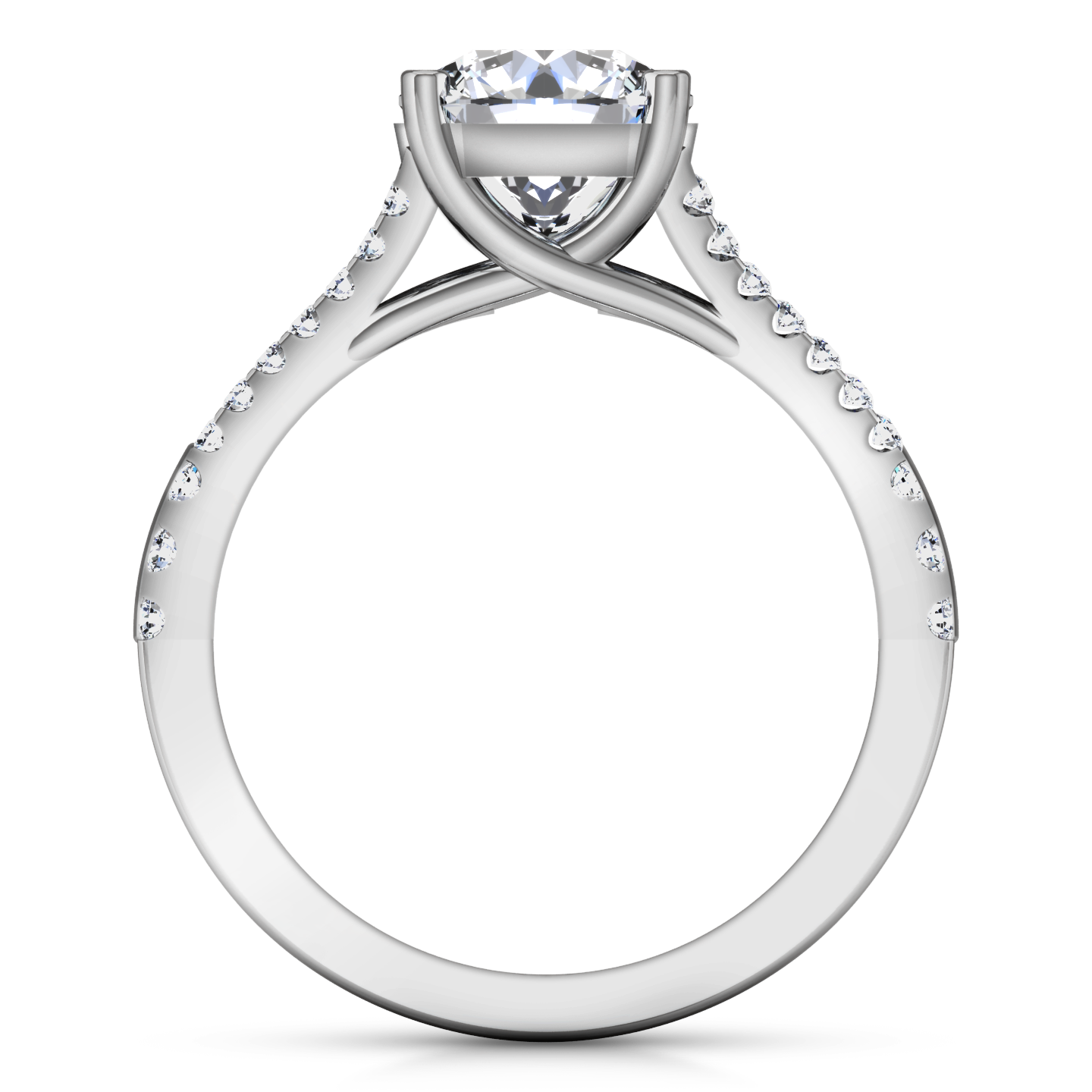 Drawing gold diamond. Pave cushion cut engagement