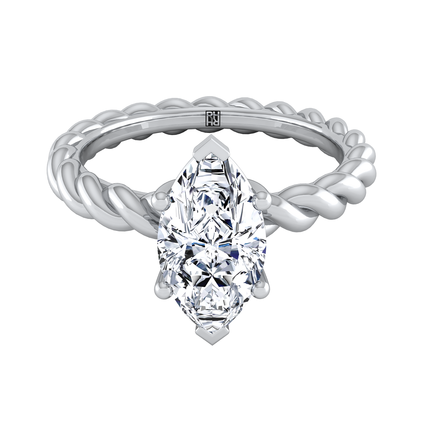Drawing gemstones marquise diamond. Solitaire engagement ring with