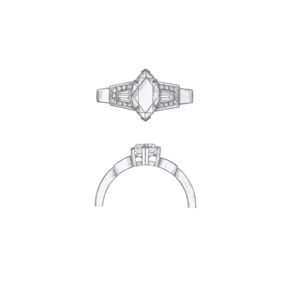 Drawing gemstones marquise diamond. Hand sketch concept for