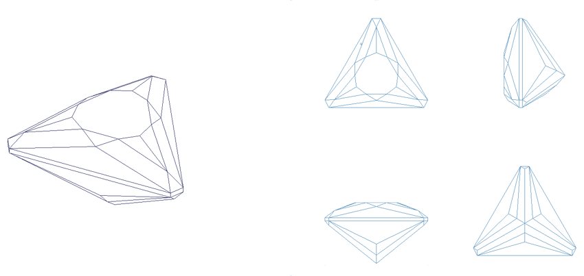Drawing gemstones perspective. Gems triangle for