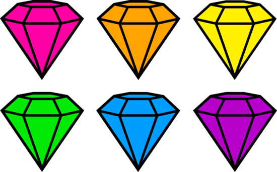 Drawing gemstones simple. Colorful neon free clip