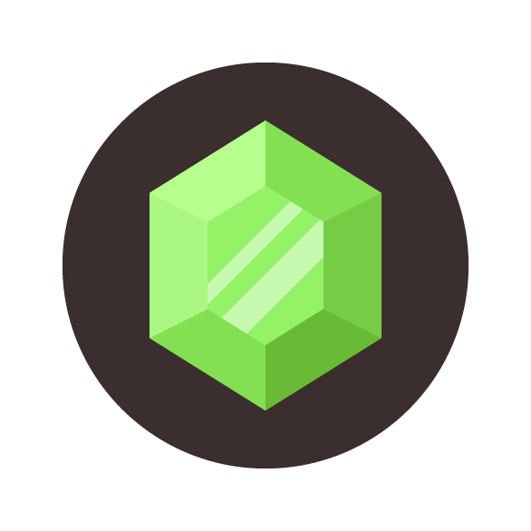 Emerald vector gem. Gemstone icon adobe illustrator