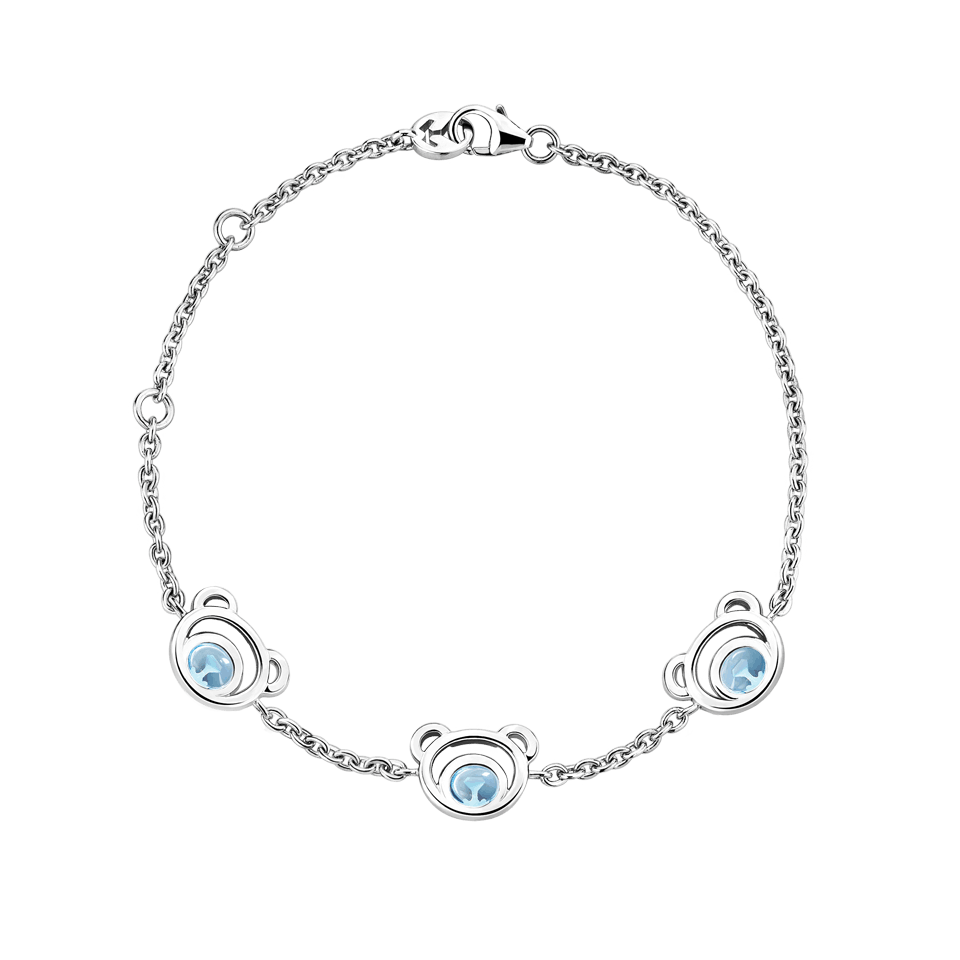 Drawing accessory bracelet. Silver mini bear blue