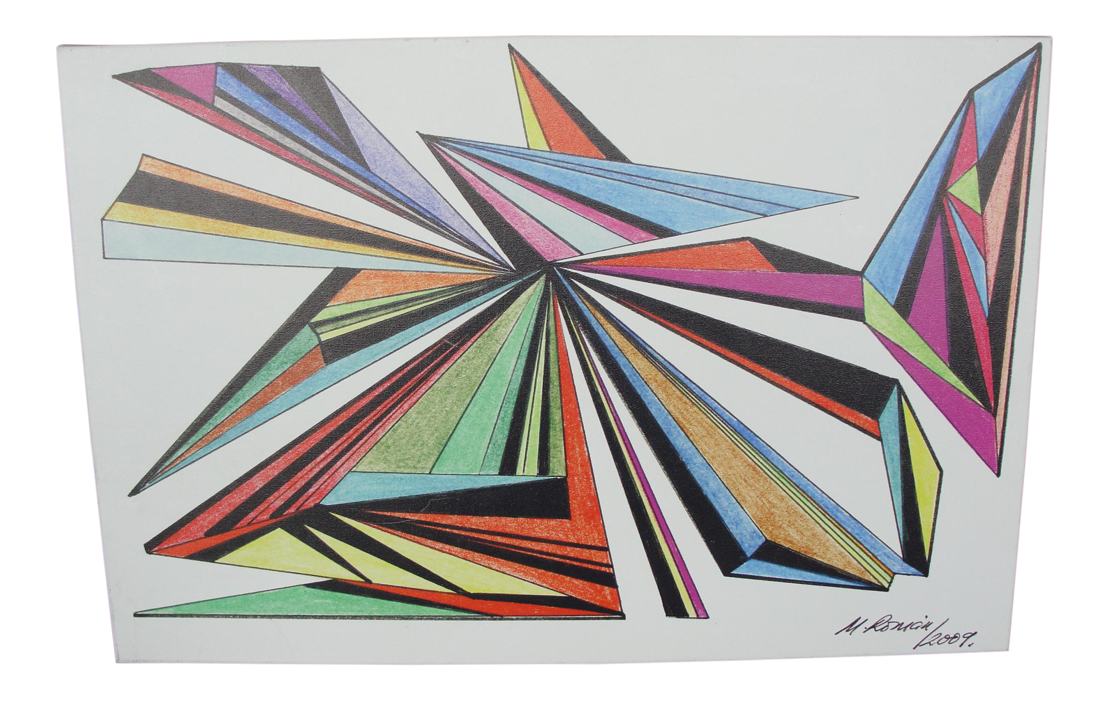 Expressionism drawing modern day. M roman geometric abstract