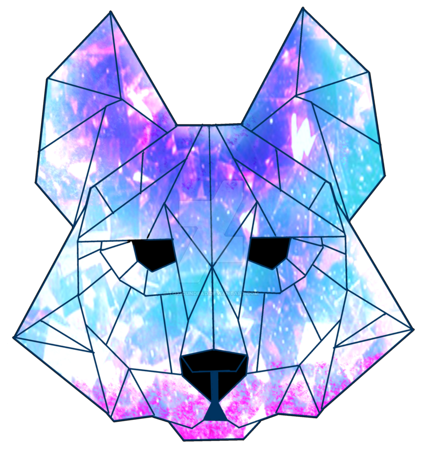 Drawing geometry galaxy. Crystal wolf by toxicundead