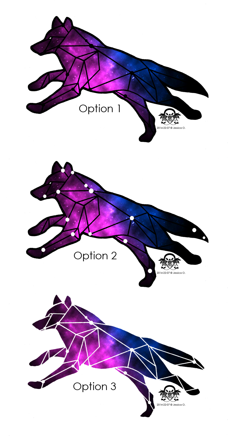 Drawing geometric galaxy. Wolf tattoo design based
