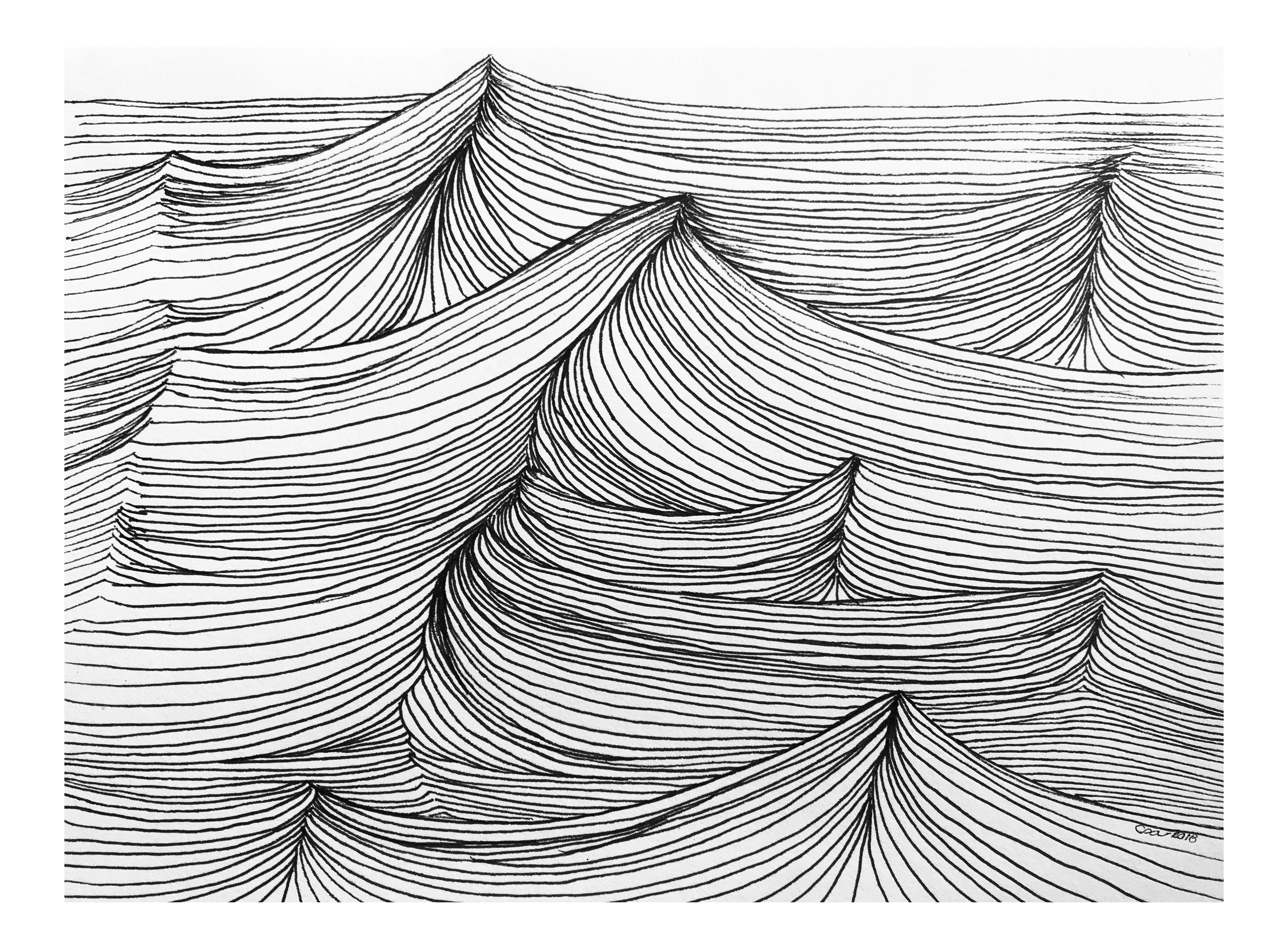 Drawing structures pen. Original the sea ink