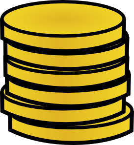 Drawing gold coin. Coins in a stack