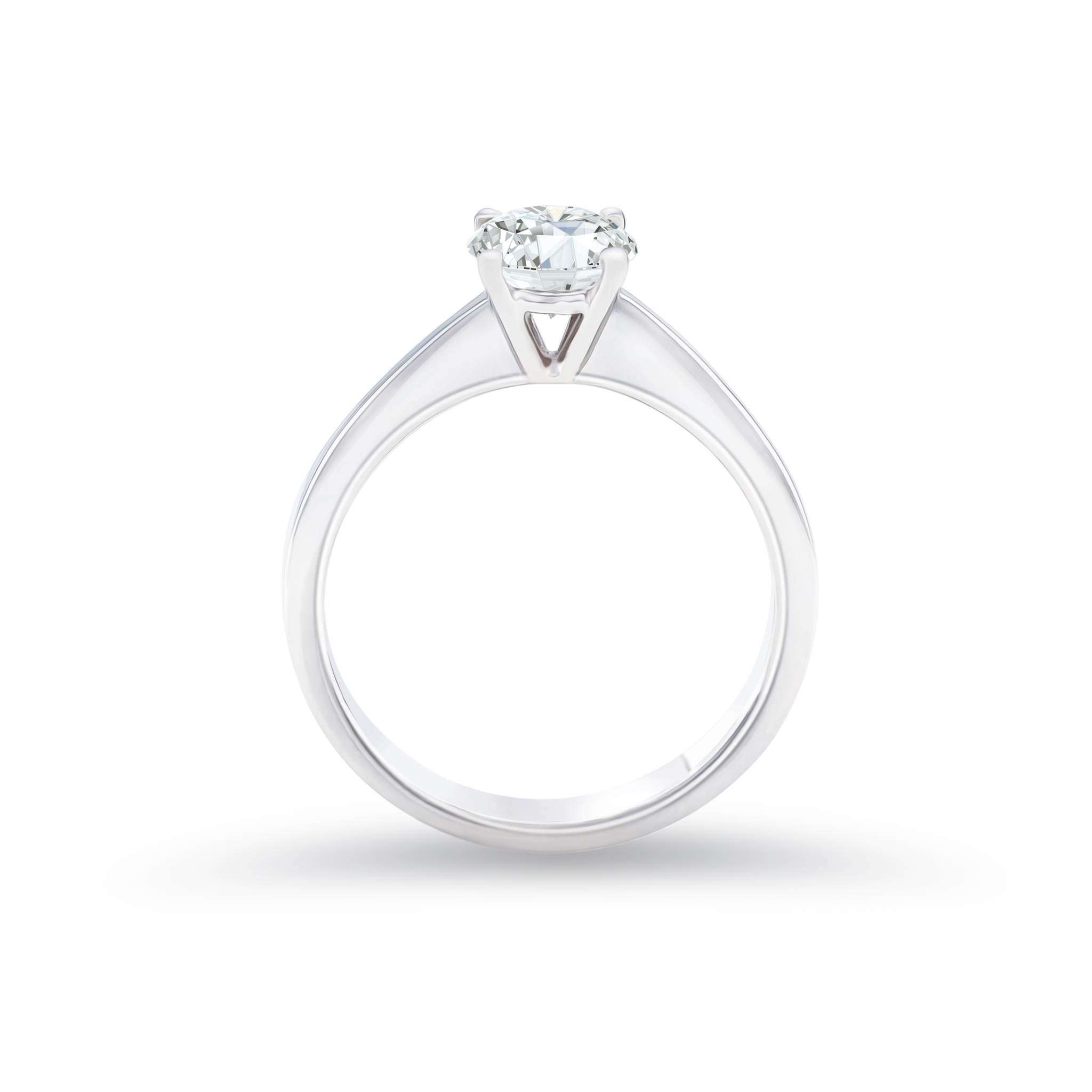 Drawing gold diamond. Certified round shaped solitaire