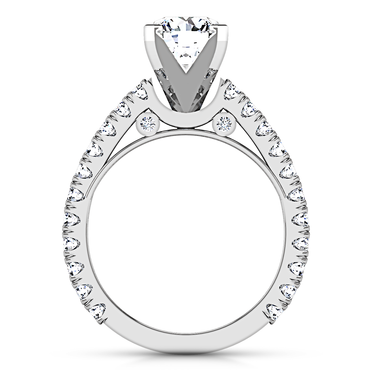 Drawing gold diamond. Pave engagement ring eden