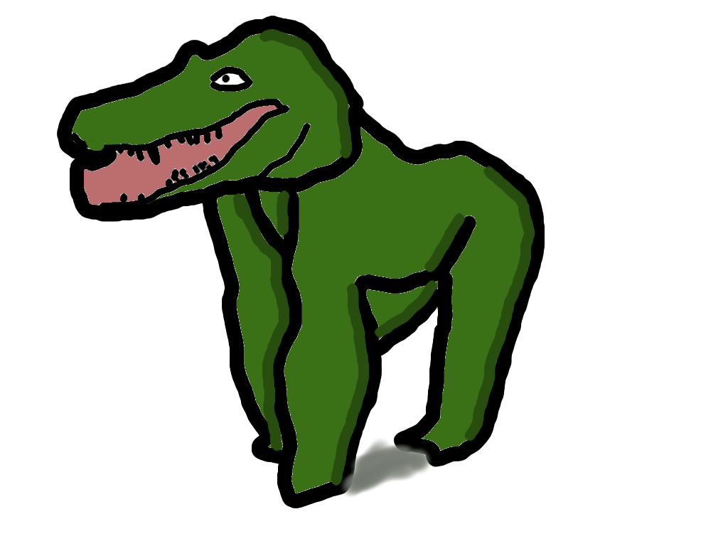 Drawing gorilla mouth. Gator by moderenart on