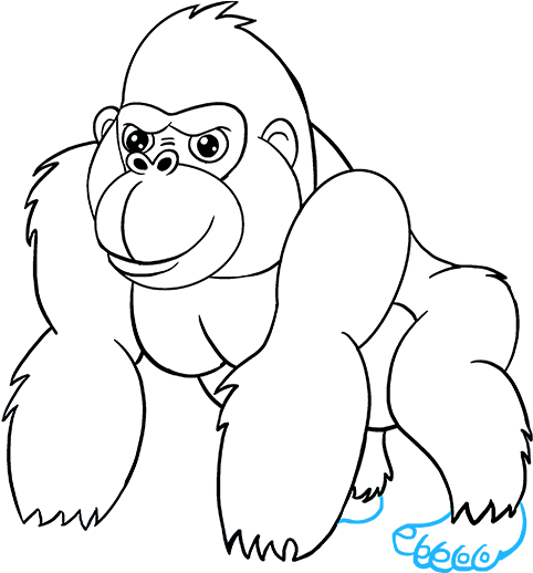Drawing gorilla outline. Download hd of a