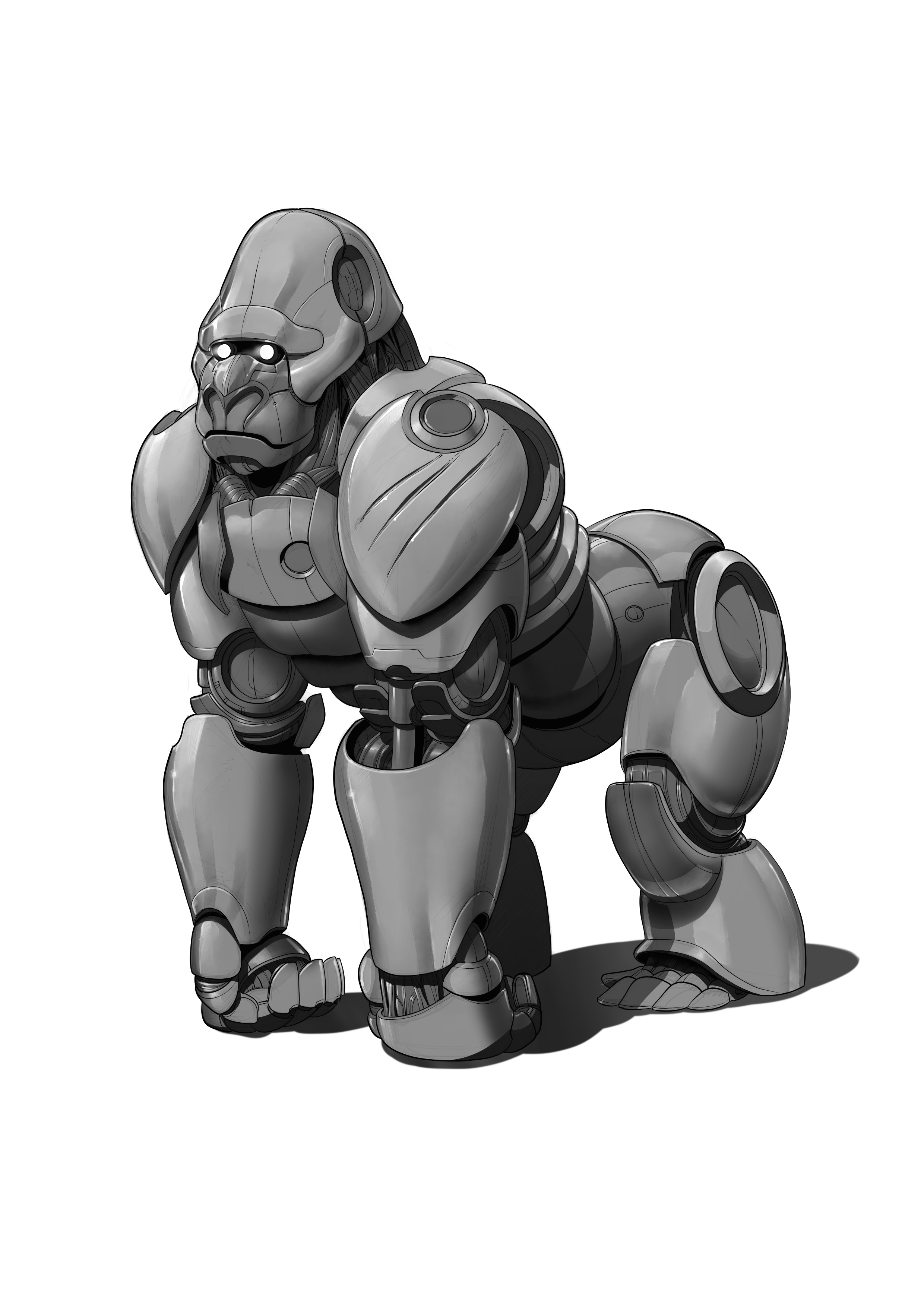 Drawing gorilla robot. Personal protective equipment gear