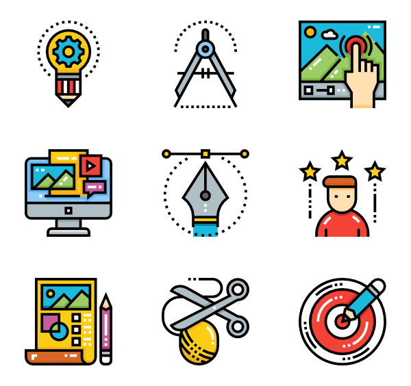 Icons free vector process. Fonts drawing creative graphic library