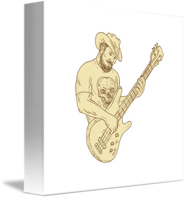 Drawing guitar gutiar. Cowboy bass isolated by