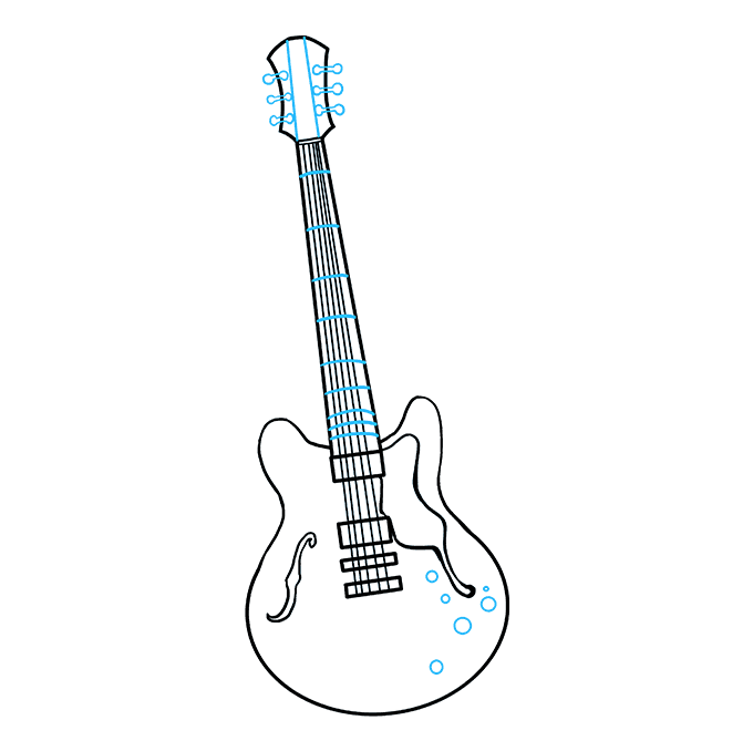 Drawing guitar head. How to draw a