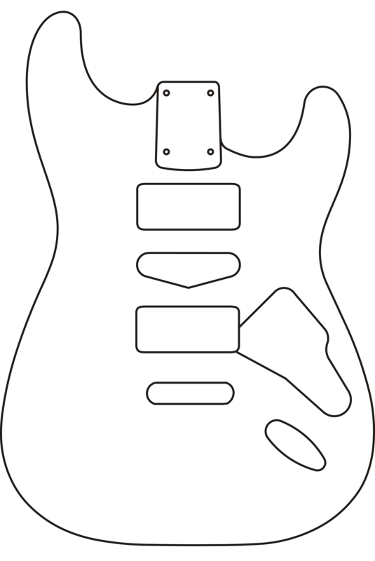 Drawing guitar body. Eden guitars parts and