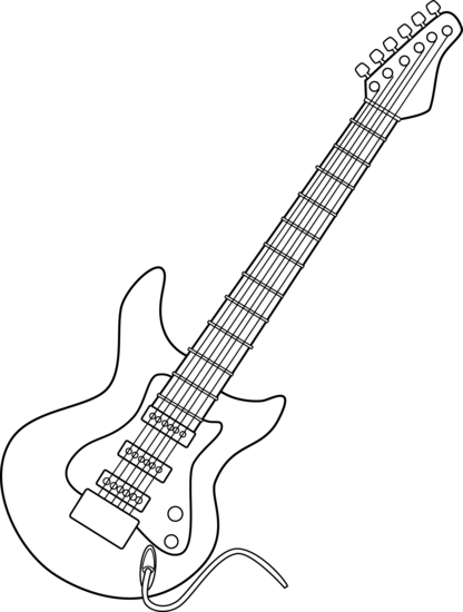Drawing guitar clipart. Electric line art free