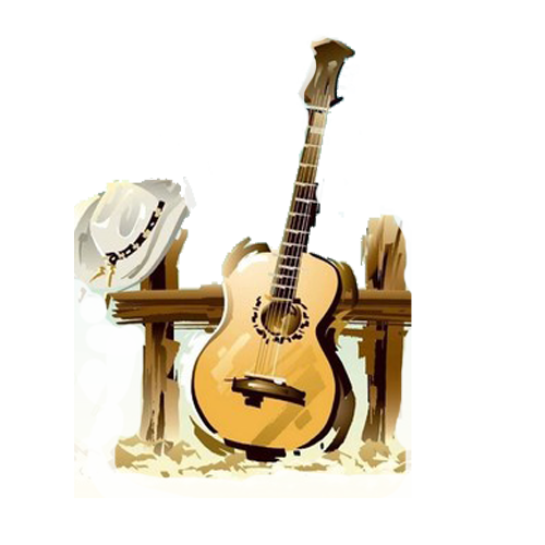 Drawing guitar country. Music clip art and