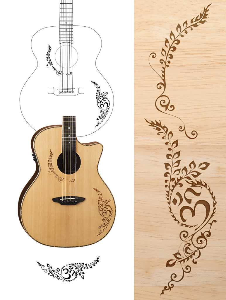 Growth drawing acoustic guitar. Sacred symbolism body art