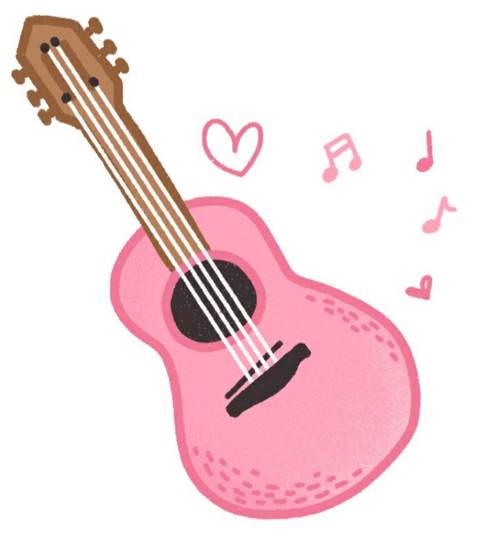 Drawing guitar kawaii. Ukulele pink cute sticker