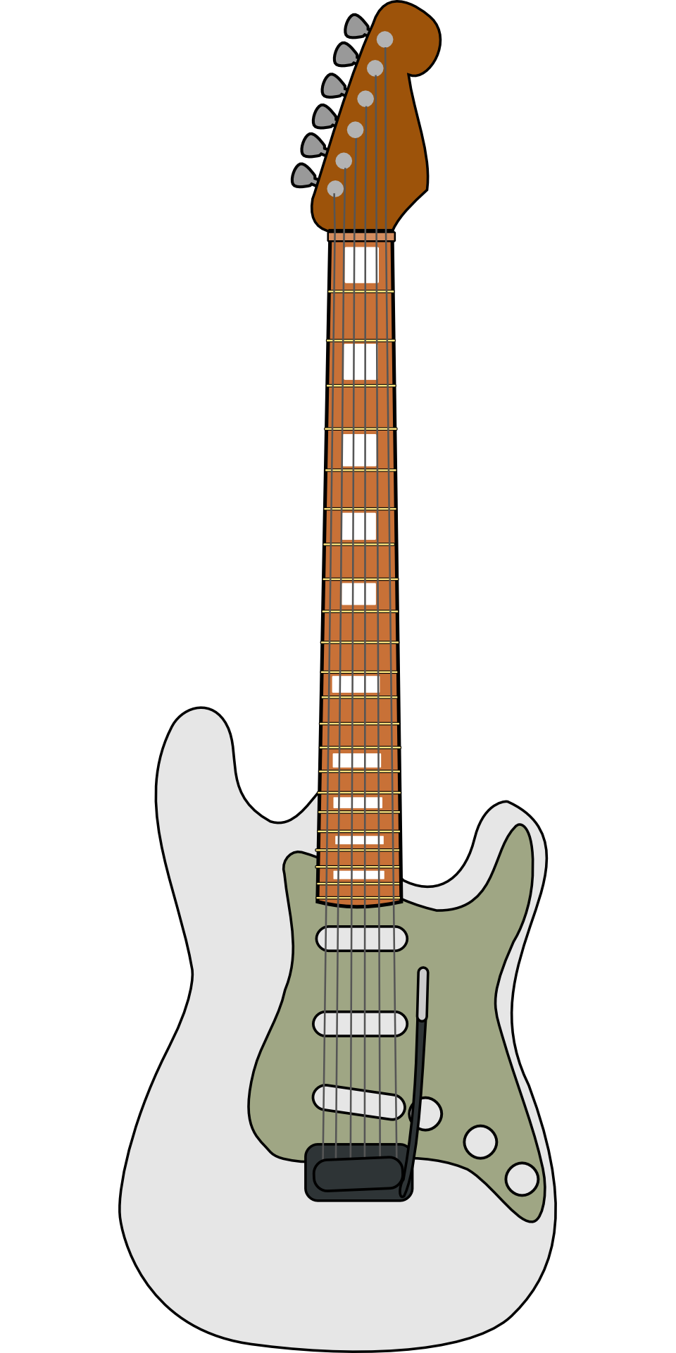 Drawing guitar eletric. Electric grey brown musical