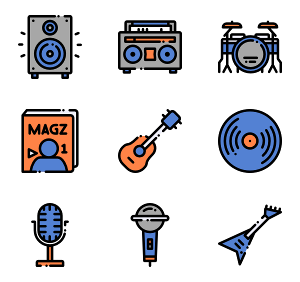 Drummer vector. Guitar icons free music