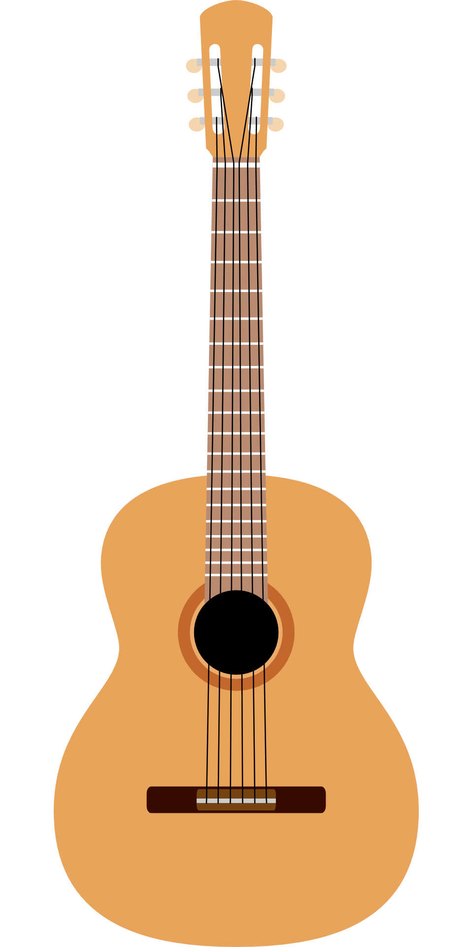 Drawing guitar instrument. Acoustic light brown musical