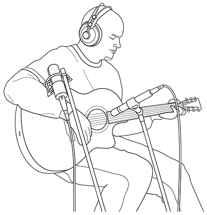Drawing Guitar Microphone Transparent Clipart Free Download