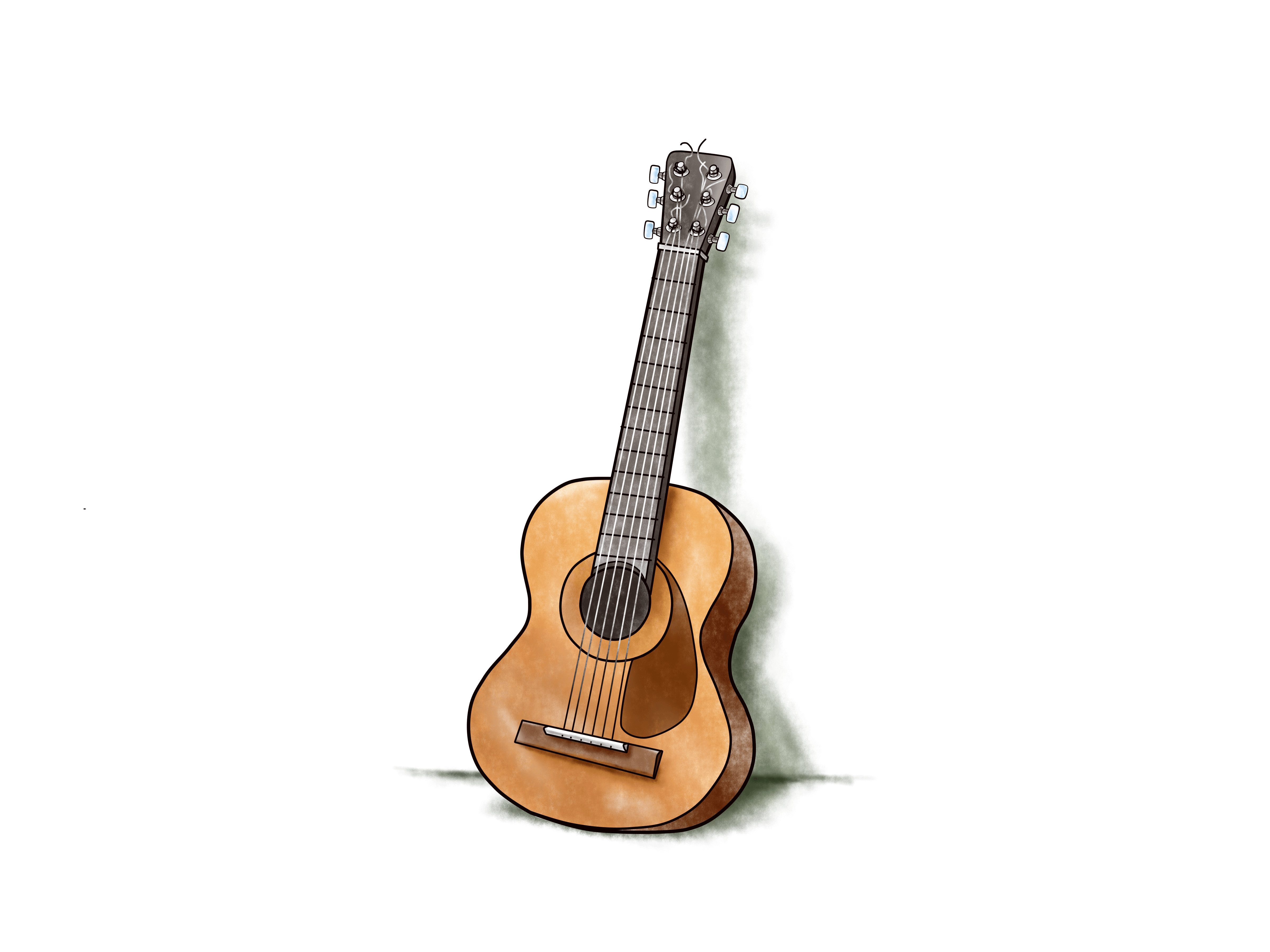 Growth drawing guitar. Learning with science