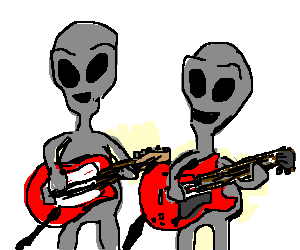 Drawing guitar mariachi. Two aliens play music