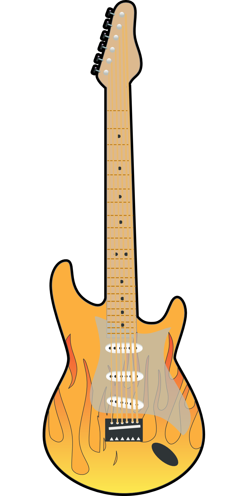 Drawing guitar rock. Yellow brown musical instrument