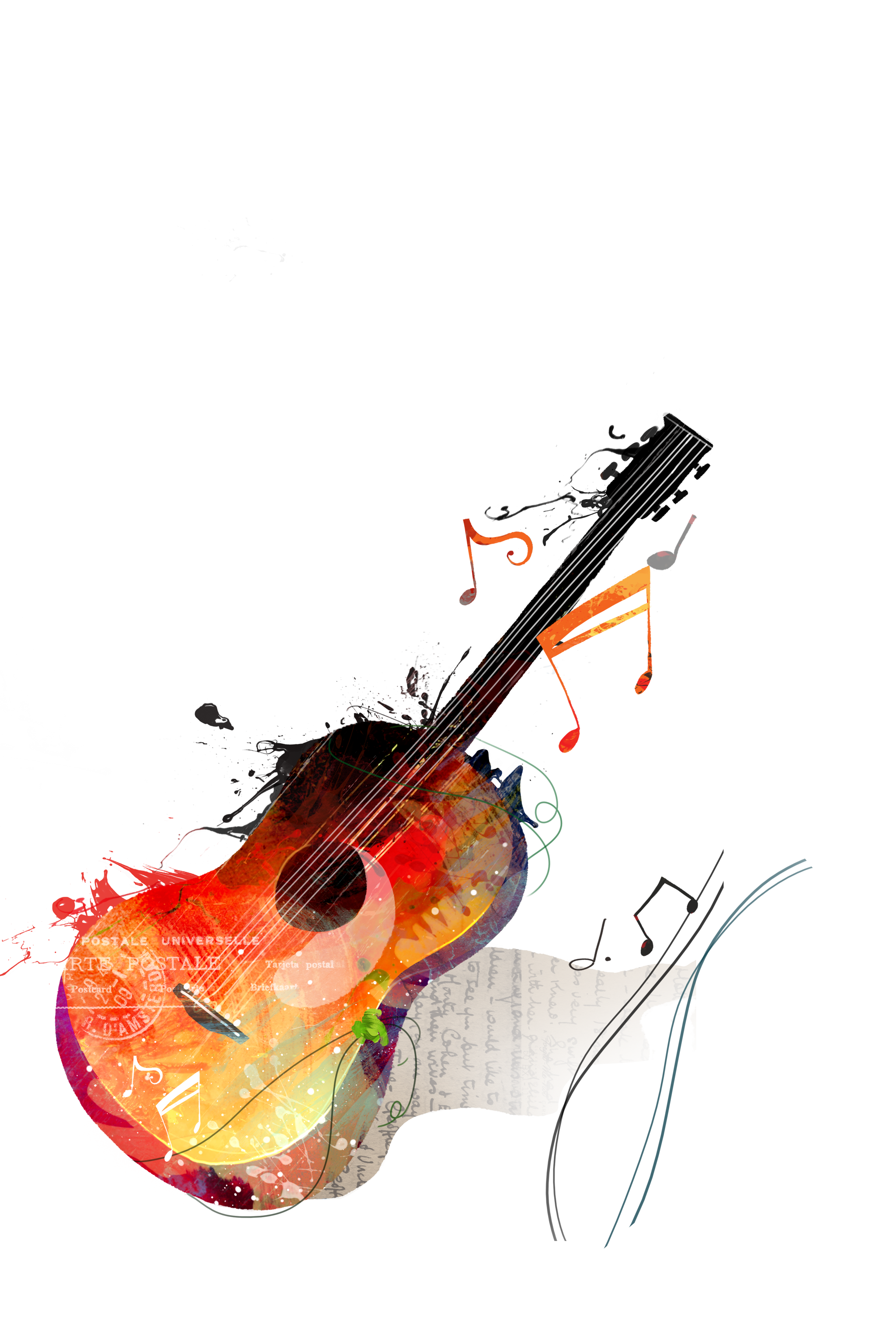 Watercolor painting canvas transprent. Drawing guitar violin svg royalty free library