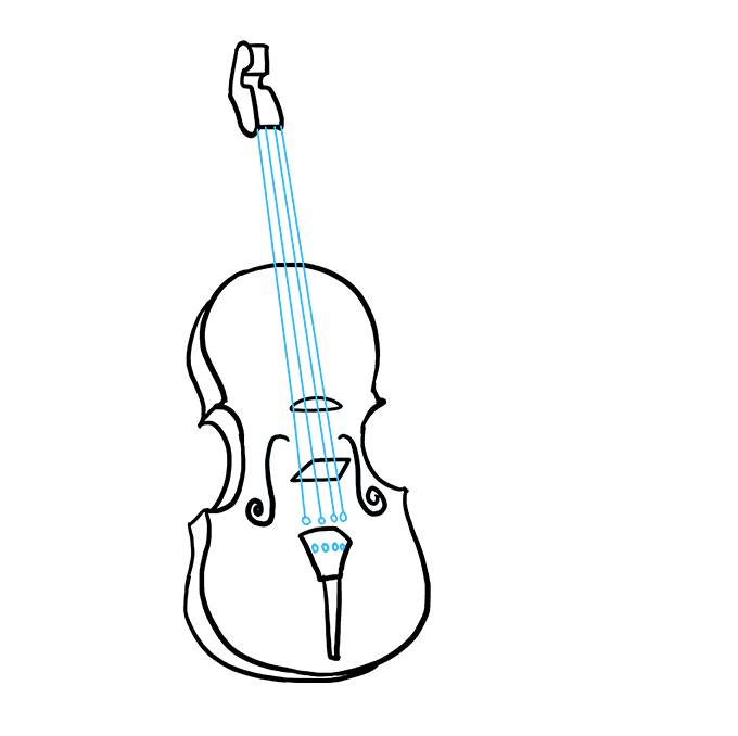 Fiddle drawing small violin. How to draw a