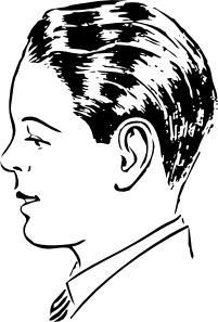 Drawing guys side profile. Man view clip art