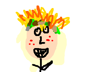 Headband drawing hair. Guy with spiky and