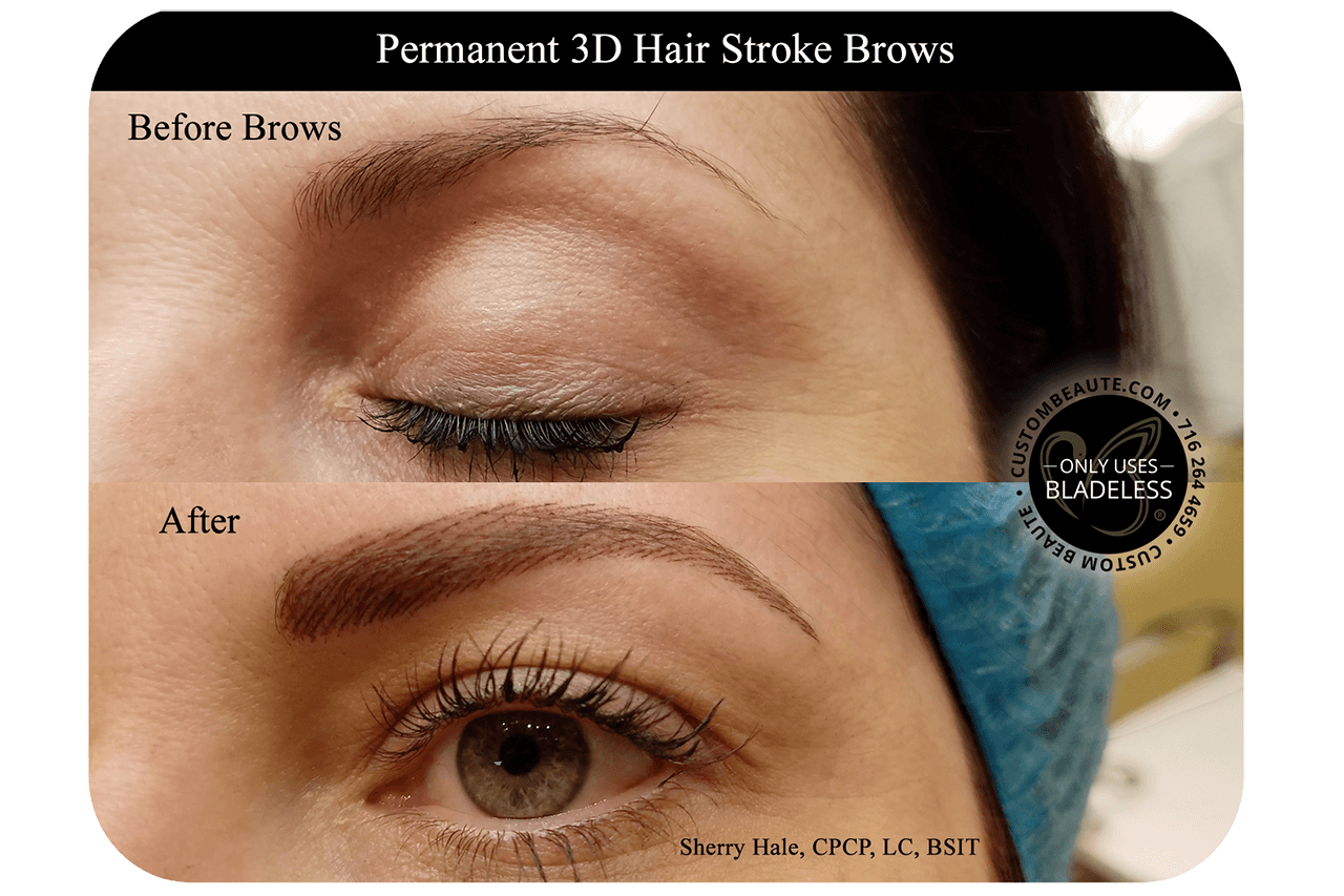 Drawing hairlines hair stroke 3d. Permanent brows in amherst
