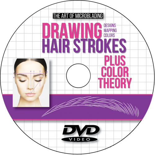 Drawing hairlines hair stroke 3d. Microblading strokes plus color