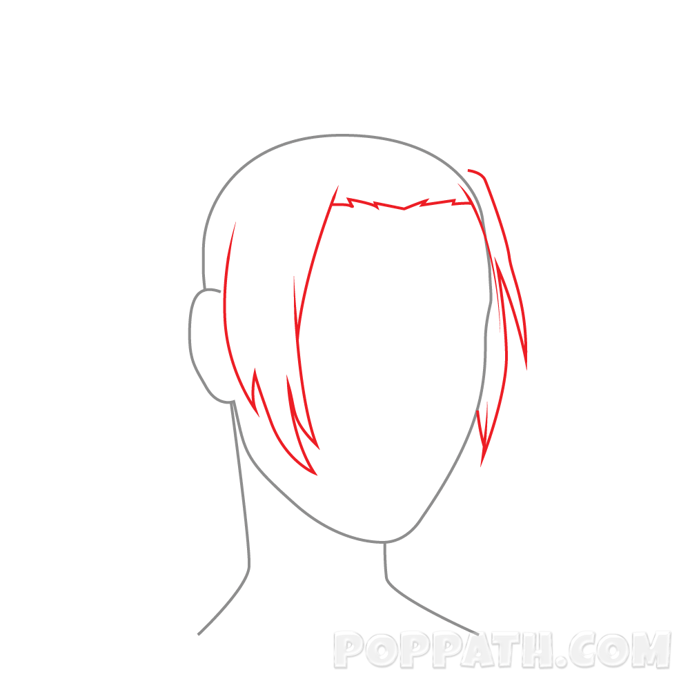 Drawing hairlines side part. How to draw female