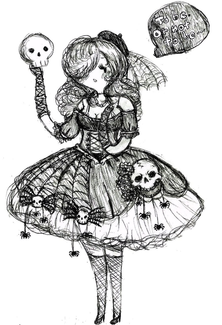 Spiders drawing dress. Halloween skulls and by