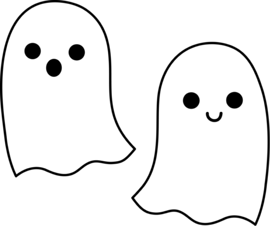 Drawing halloween ghost. Outline clip art clipart