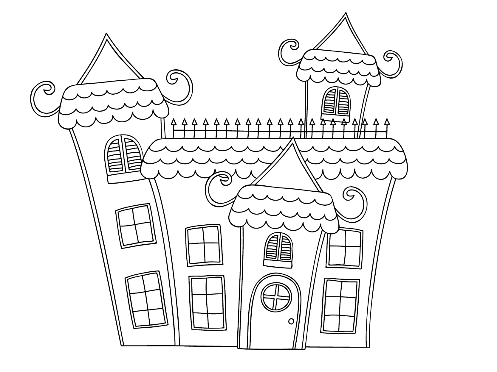 Drawing halloween haunted house. Ghost illustration
