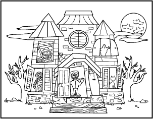 Drawing halloween haunted house. Free printable coloring pages