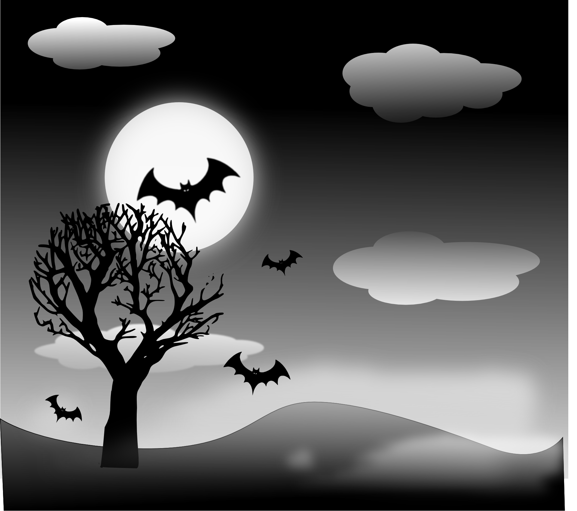 Drawing halloween landscape. Of spooky with flying