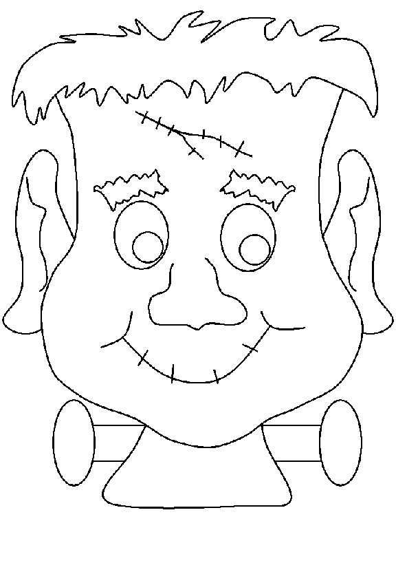 Drawing halloween mask. Scary coloring pages monster
