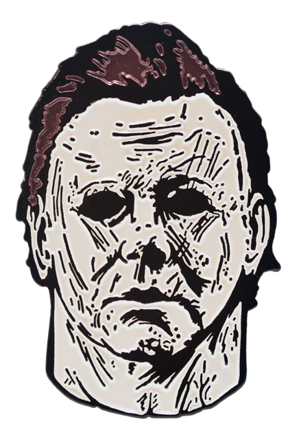 Enamel pin. Drawing halloween michael myers vector black and white library