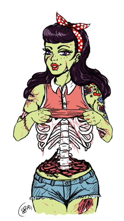 Drawing halloween pop art. Zombie pin up by
