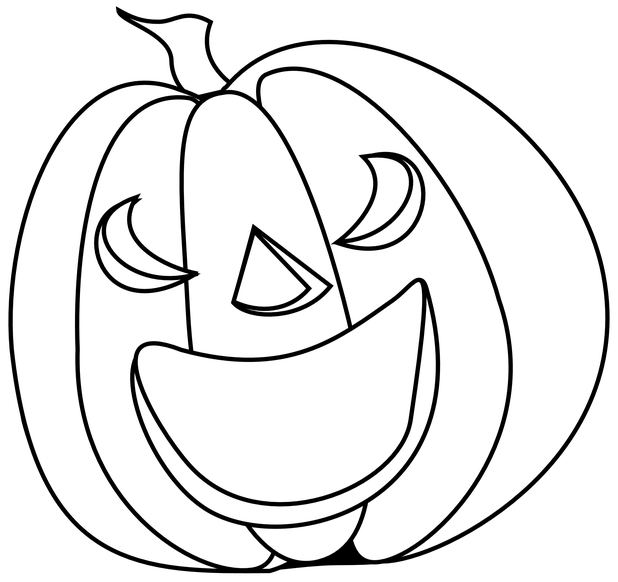 Drawing halloween pumpkin. Black and white vector