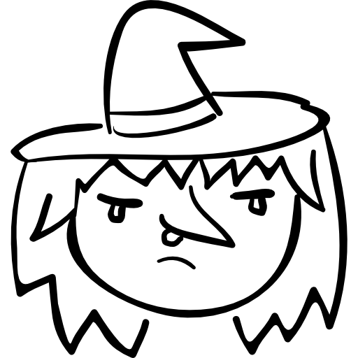 Drawing halloween witch. Costume on woman head