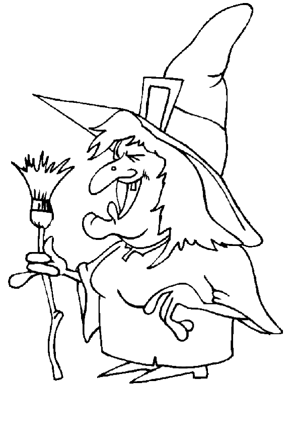 Drawing halloween witch. Vintage sheet music coloring